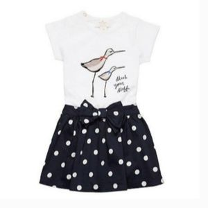 Kate Spade Navy Polka Dot Bow Baby Skirt 6 Months